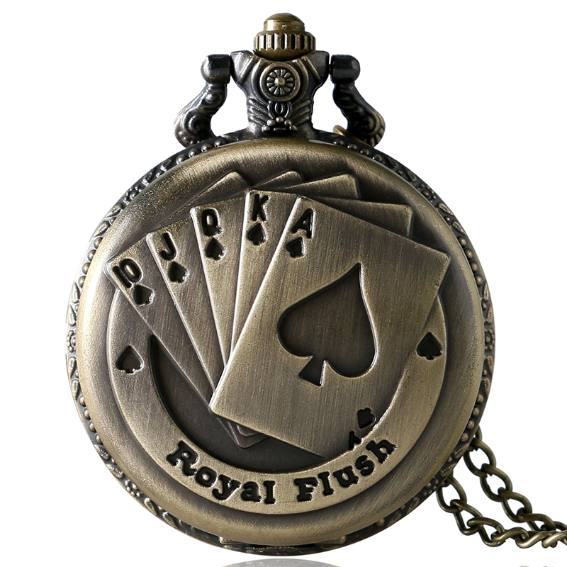 Retro Bronze Metal Poker Card Pattern Quartz Pocket Watch Relojes Hombre Analog Pocket FOB Watches With 30cm Chain Gifts P80C