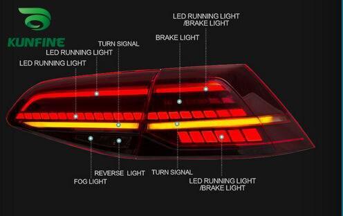 """Пара автомобиль хвост светильник в сборе для Volkswagen GOLF 7 2013- светодиодный стоп-сигнал светильник """"бегущая вода"""" мерцания указатели поворота светильник"""