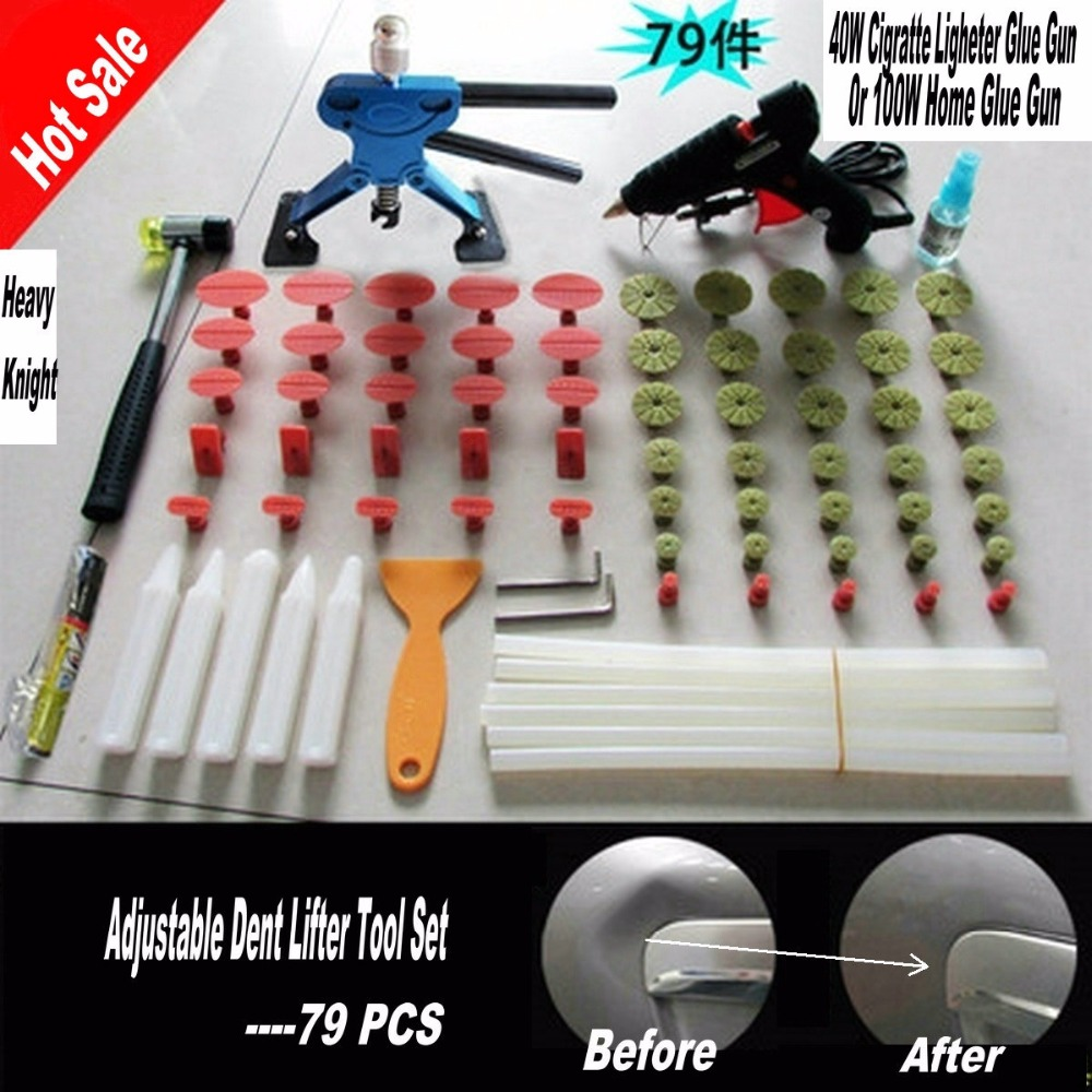 79 PCS PDR Tools Dent Puller Kit PDR Paintless Car Dent Removal Tools PDR Dent Lifter Hot Melt Glue Gun 60 Pulling Tabs super pdr car paintless dent repair tools kit t bar dent lifter green dent puller pulling bridge set glue gun dent tabs