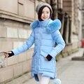 EPacket Бесплатная Доставка Зимняя Куртка Женщины Парка Меховой Воротник Утолщение Хлопка Мягкий Зимнее Пальто Манто Femme