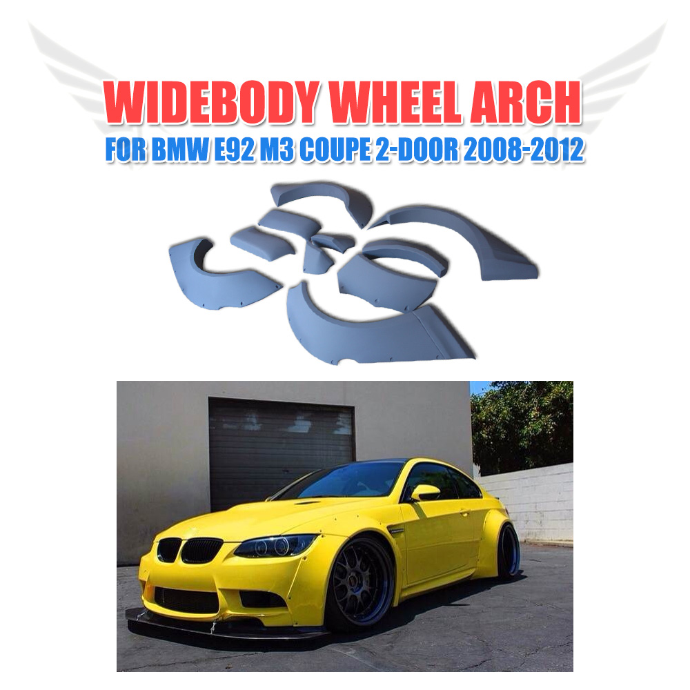 10PCS/SET Wide Body Big Fender Flares Wheel Well Arch Huge Covers Fit For BMW E92 M3 2008-2012 Car Styling m sticker fit for bmw x1 x3 x5 e60 e39 e34 e28 525 m 3 5 fender side vent grill grille 3m tape 2pcs set