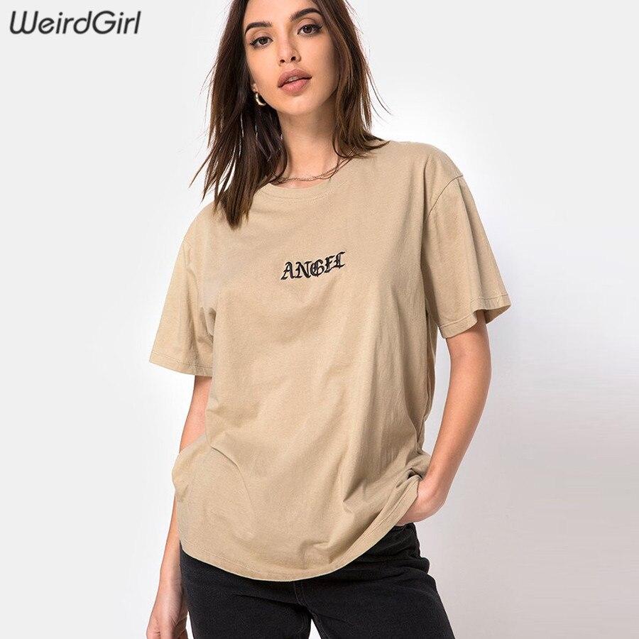 Weirdgirl Anjo bordado T-shirt Ocasionais Da Forma Das Mulheres carta de Manga Curta O-pescoço Cáqui Solta elástico Feminino Tees Verão Novo
