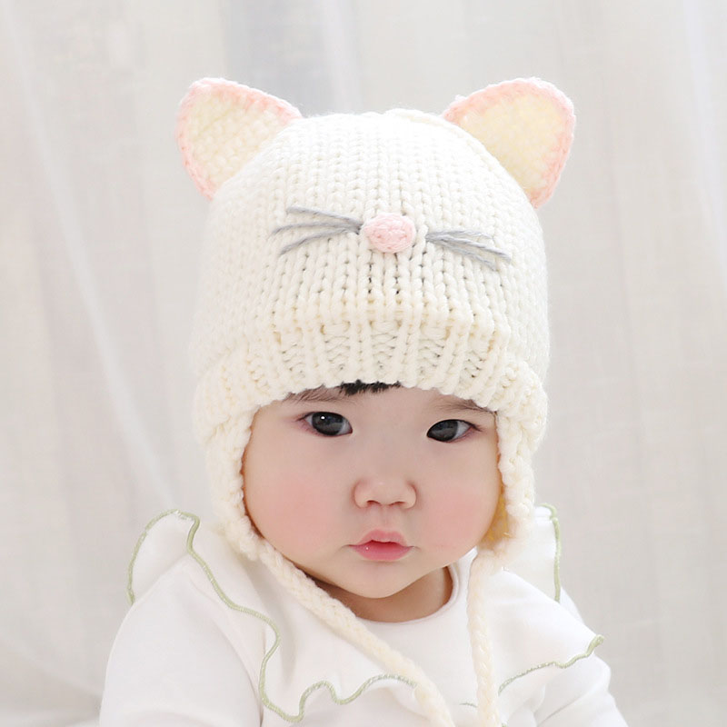 6a6e5ca5e US $4.03 15% OFF|Cute Cat Ear Baby Hat Baby Boy Girl Knitting Wool Beanie  Winter Warm Cap Hats for Toddler Kids Bonnet-in Hats & Caps from Mother &  ...