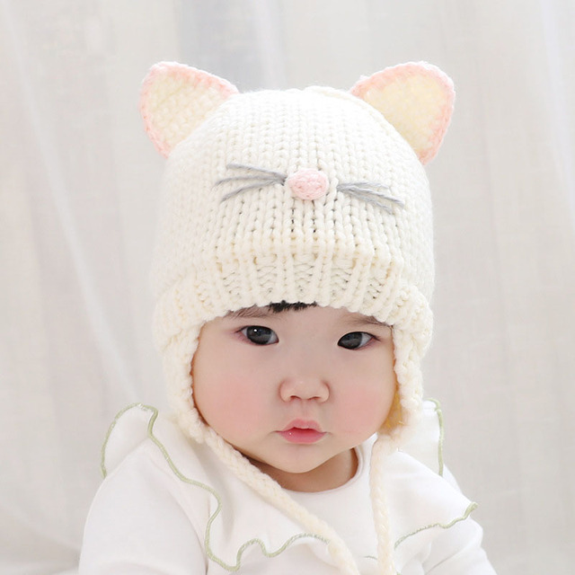 6f1ed35f7a1 Cute Cat Ear Baby Hat Baby Boy Girl Knitting Wool Beanie Winter Warm Cap  Hats for Toddler Kids Bonnet