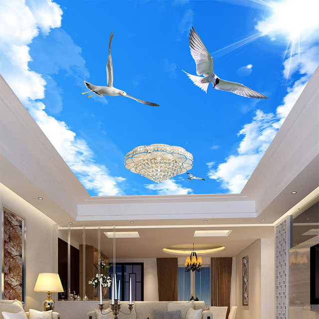 custom 3d wallpaper for wall sunny blue sky flying bird photo wall mural creative ceiling wall. Black Bedroom Furniture Sets. Home Design Ideas