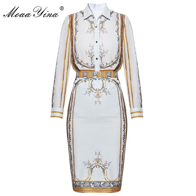 MoaaYina Fashion Designer Runway Set Summer Women Long sleeve Print Turn-down collar Vintage Blouse+Half skirt Two-piece suit все цены