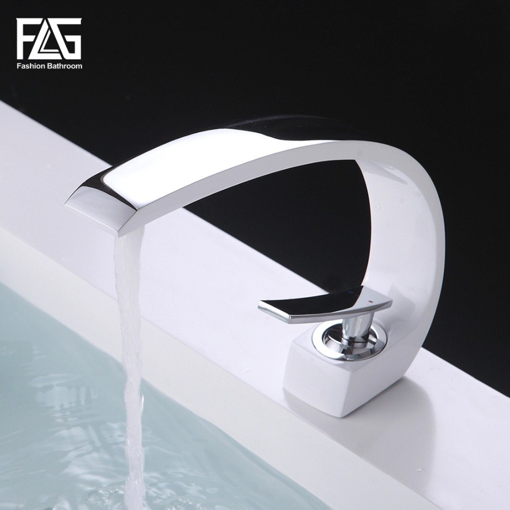 FLG Basin Faucet Grilled White Painted Cast Deck Mounted Single Lever Single Hole Basin Tap C' Model Cold&Hot Wasserhahn 113-11