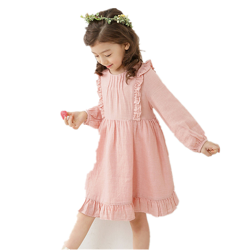 Girls Princess Dress 2017 Vårhöst Sweet Pink Långärmad Barnkläder 0-10Y Kostym Kids Casual Birthday Party Dress