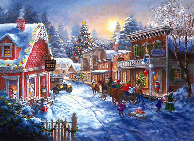 5D Diamond Painting Christmas House Diamond Mosaic Craft Full