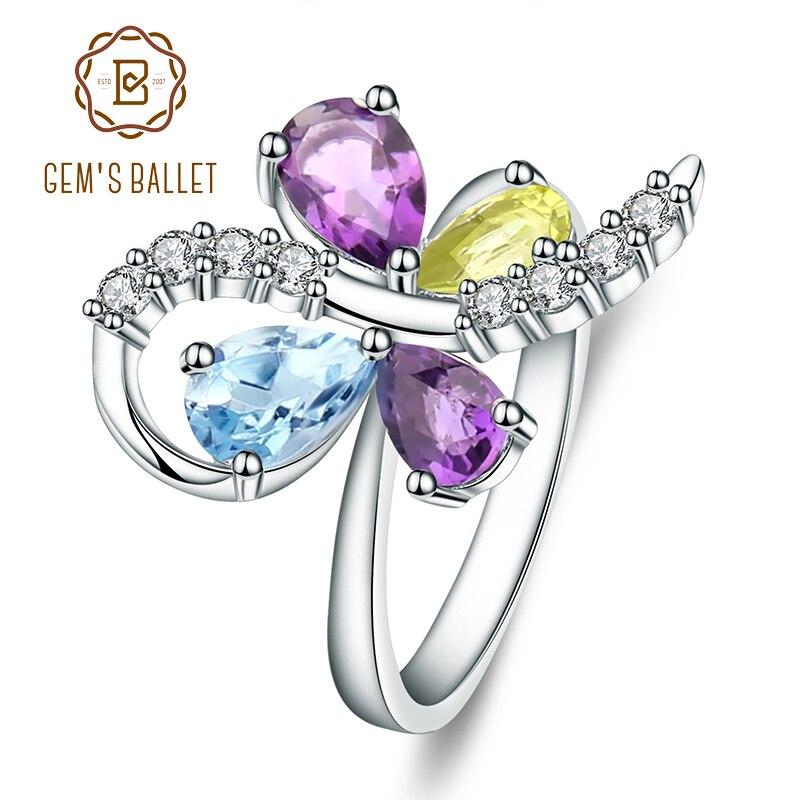 GEM'S BALLET Sky Blue Topaz Amethyst Peridot Mix Gemstone Ring 925 Sterling Silver Women's Butterfly Rings Fine Jewelry