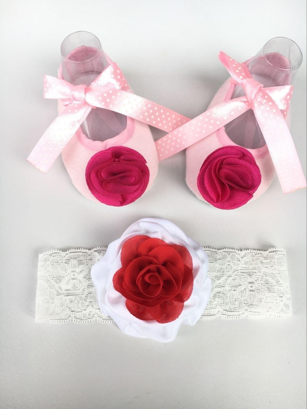 New Style Rhinestone Imperial Crown Newborn Baby Shoes Headband Set ... 031d7854ea0