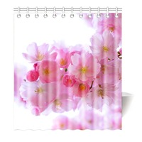 Shower Curtain Japanese Pink Sakura Waterproof Mildewproof Polyester Fabric Bath Curtain Bathroom