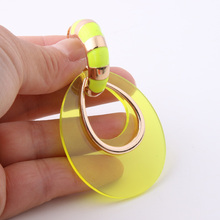 NeeFu WoFu Transparent PVC Earring Big Earrings Fluorescent yellow Large glass earrings Brinco Ear Oorbellen Christmas