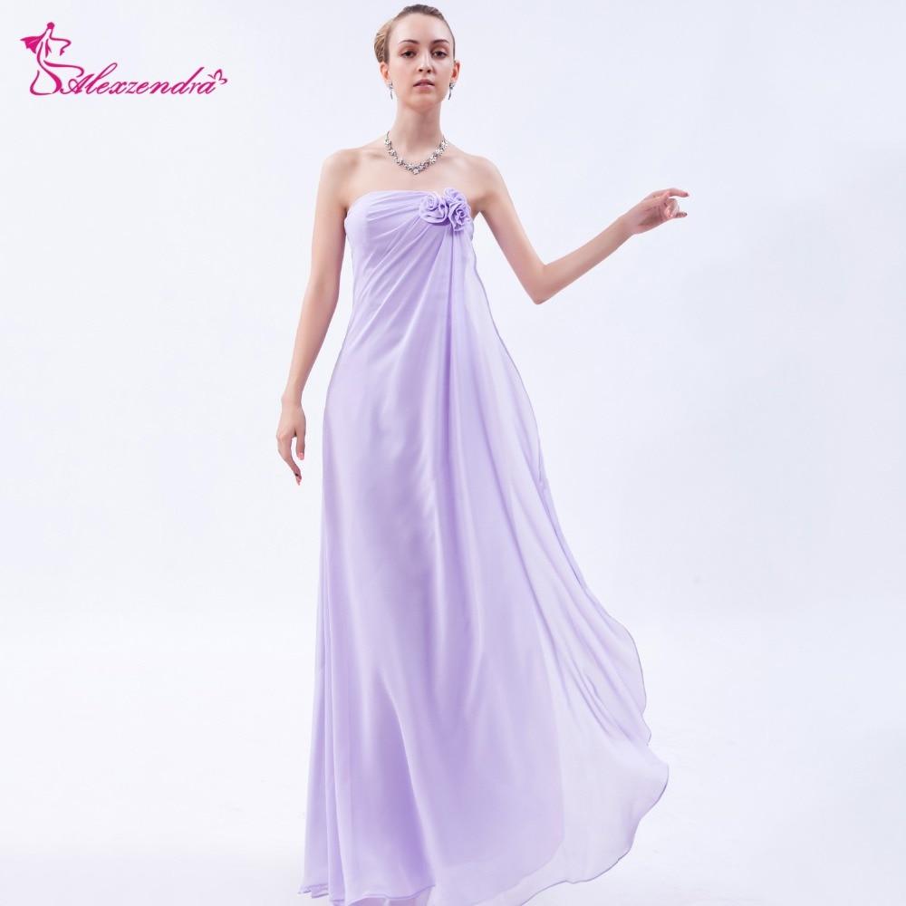 Alexzendra violet clair en mousseline de soie sans bretelles une ligne robes de bal avec châle robe de soirée robe de soirée personnaliser