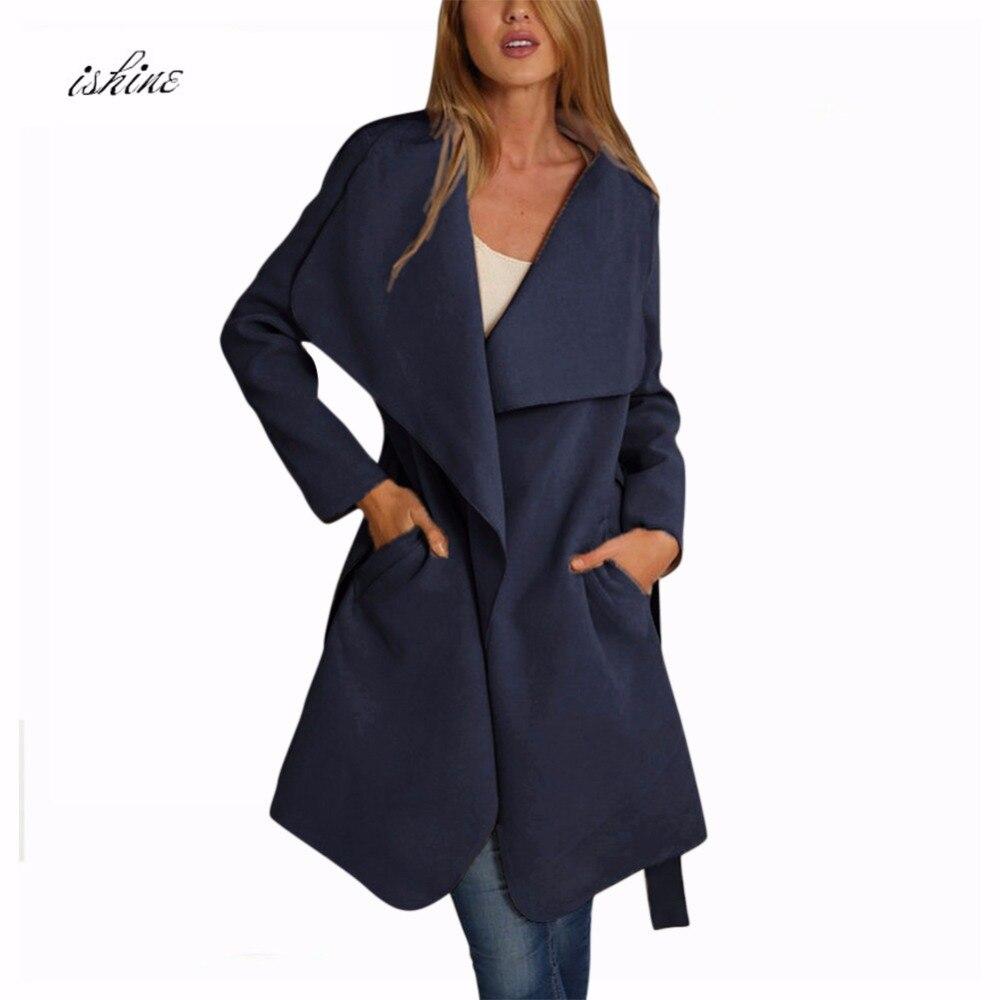 US $23.19 32% OFF|2017 Winter Frauen Mantel Breit Revers Gürtel Tasche Wollmischung Mantel Übergroßen Langen Grauen Trenchcoat Outwear Wollmantel