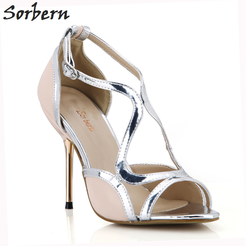 Sorbern Gold Metal Heels Women Sandals Shoes Nude Pu 10.7cm High Heels Sandals Women Real Image Sandalias Mujer 2018 Ladies Shoe sorbern women sandals shoes real image pvc clear heels buckle strap 15cm heels crystal sandalias mujer 2018 summer shoes women
