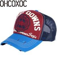 Ohcoxoc النساء الرجال تصميم جديد الصيف قبعة بيسبول قبعة مخصصة جودة الطباعة جيدة القطن شبكة أسلوب بارد الرياضة قبعات للجنسين القبعات