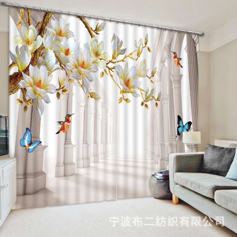 Blackout Window Beautiful Flowers Birds And Butterflies 3D Curtains For Bedding Room Living Cotinas