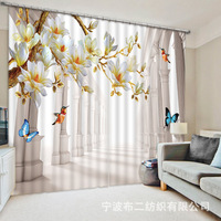 Blackout Window Beautiful flowers birds and butterflies 3D Curtains For Bedding room Living room Blackout Cotinas Drapes