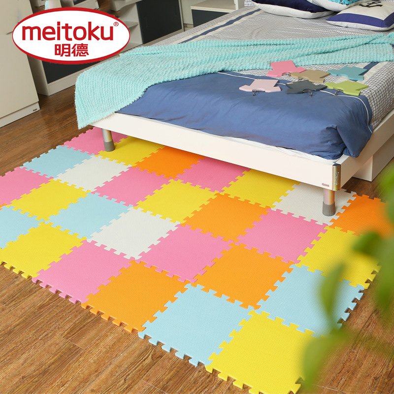 Meitoku baby EVA Foam Play Puzzle Mat/ 18 or 24/lot Interlocking Exercise Tiles Floor Carpet Rug for Kid,Each 30cmX30cm,1cmThick