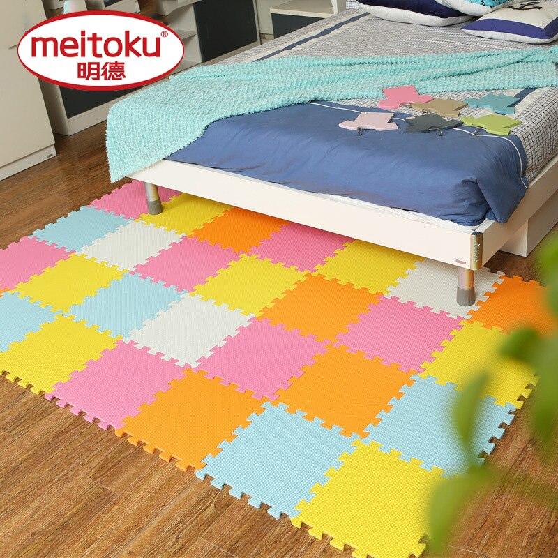 Meitoku tapis de jeu pour bébé, tapis en mousse EVA pour enfants, carreaux de ramper d'exercice à emboîtement, tapis de Puzzle de sol pour enfants, chacun 32x32 cm