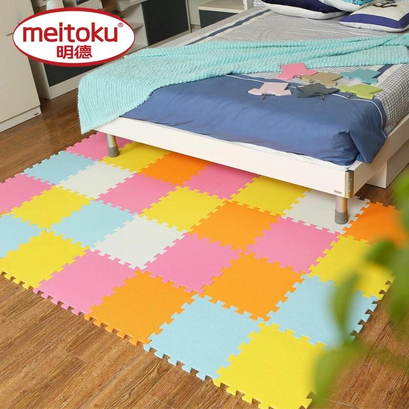 meitoku tapis de jeu pour bebe 32x32cm tapis en mousse eva carreaux d exercice et de rampement imbriques tapis puzzle de sol pour enfants