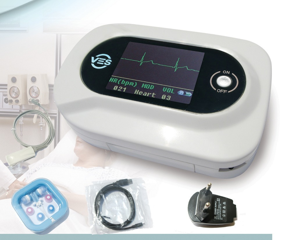 NEW CE Visual Electronic Stethoscope EG + Free PR SpO2 probe, adult spo2 probe, infant spo2 probe