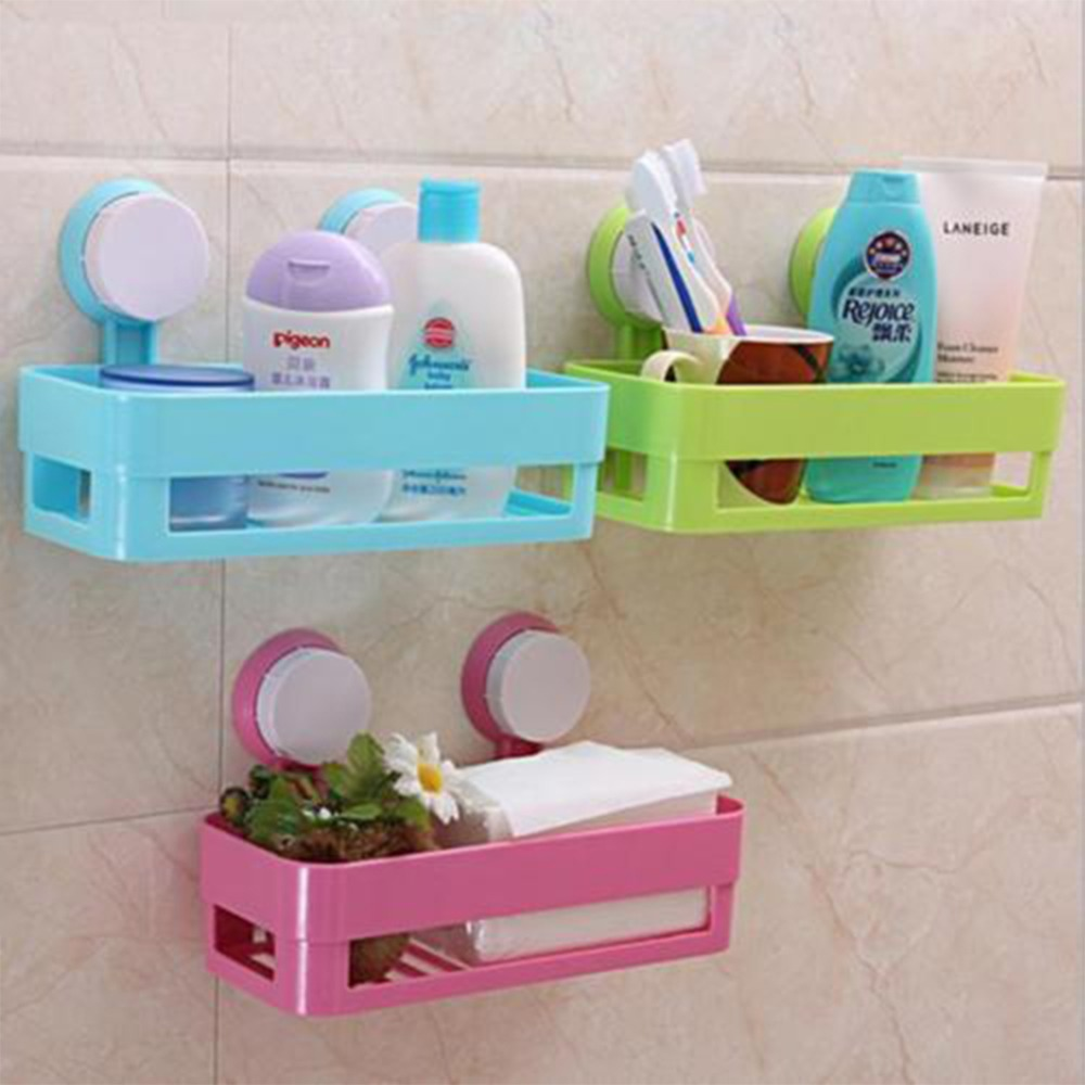 1Pc Multifunction suction cup bathroom shelf wall mounted kitchen ...