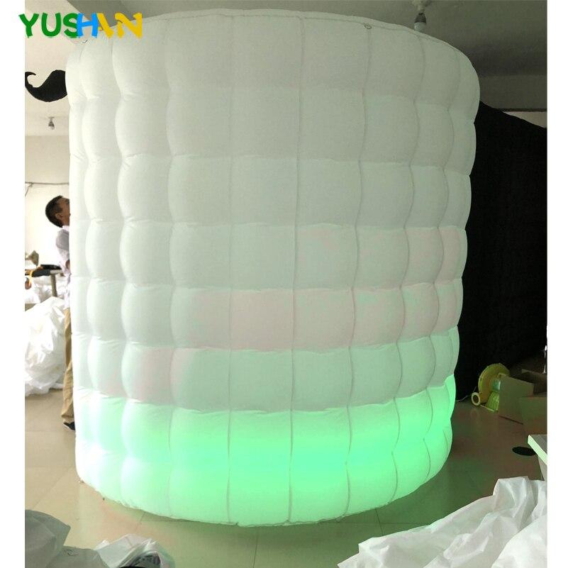 Led leuchten tragbare photo booth zelt mit schnurrbart requisiten Runde photo booth fotografie kulissen Aufblasbare Photo Booth Für Verkauf - 4