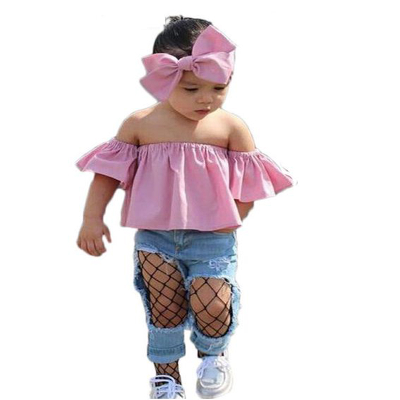 2018 summer Children Girls Clothes Off shoulder Crop Tops+Ripped Jeans+Headband clothing set 3PCS Toddler baby girl Outfits