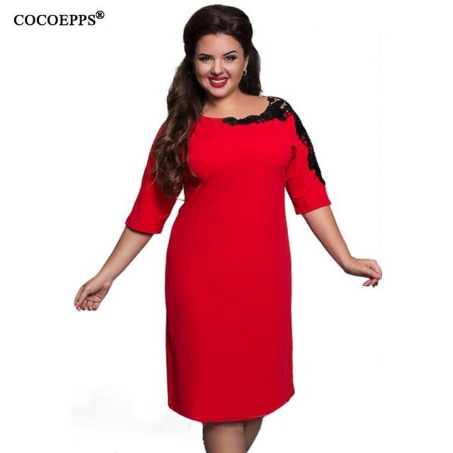 2017, Новая мода 5XL 6XL Большие размеры платья элегантные женские большие размеры Офис Кружева платье в винтажном стиле синий и красный цвета Вечеринка платье
