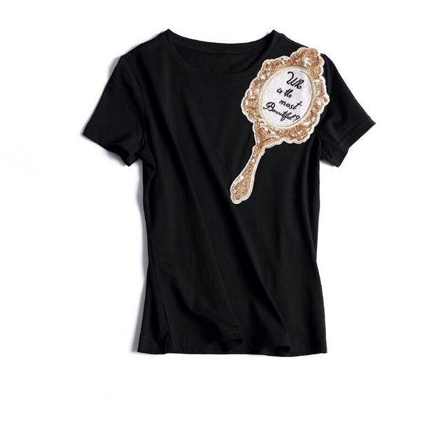 Nueva Llegada 2017 Espejo Bordado Con Cuentas de Manga Corta de Algodón Camiseta de Las Mujeres T-shirt 161215YD03