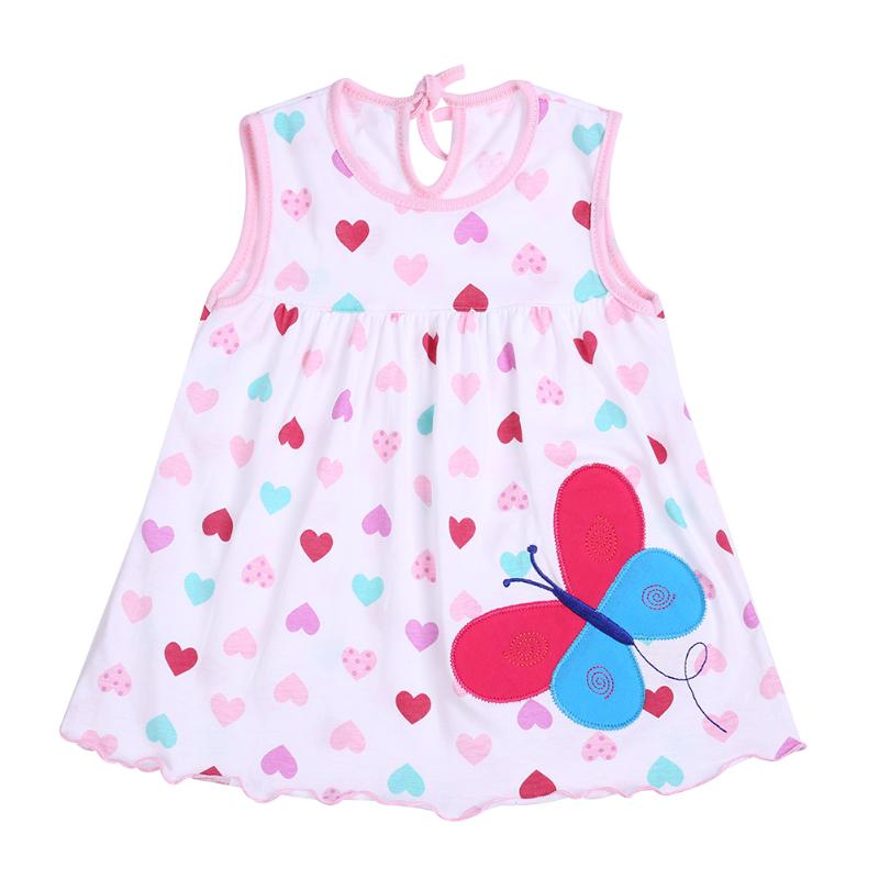 Newborn Baby Summer Dresses Girls Baby O-neck Sleeveless Cotton Princess Mini Dress Child Cute Pattern Decor Dot Clothes стоимость