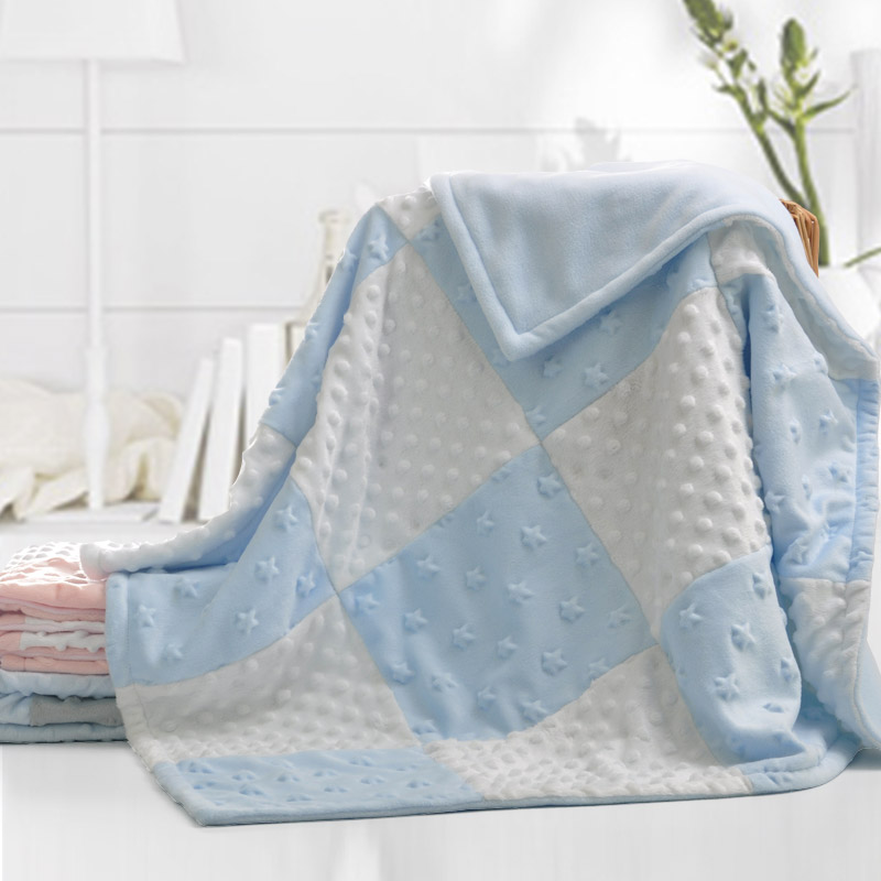 Personalized Winter Minky Dot Baby Blanket Pink Minky Blanket 2-ply Soft Patchwork Winter Newborn Baby Swaddle Wrap Blanket