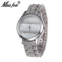 Miss Fox Casual Brand Women Quartz Watch Luxury Roll Rhinestone Steel Strap Female Wristwatch Diamond Waterproof Relogio Clock