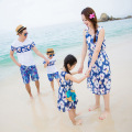 Family Matching Outfit blue flower Family Clothing Mother and Daughter Dress Father and Son Clothes Set Family beach Clothing