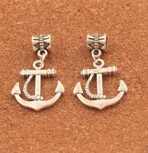 homod new fashion anchor beads leather bracelets 100pcs Antique Silver Rope Anchor Charm Beads Dangle Fit European Bracelets B007 19.5x33mm