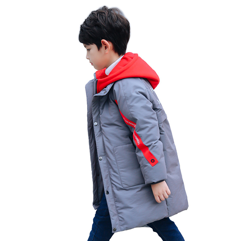 Boys Fashion Down Parkas Girls Warm Thick Fur Collar Hooded Jackets Teenage Letter Print Winter Long Down Outerwear AA51907 color block letter print sleeveless hooded top