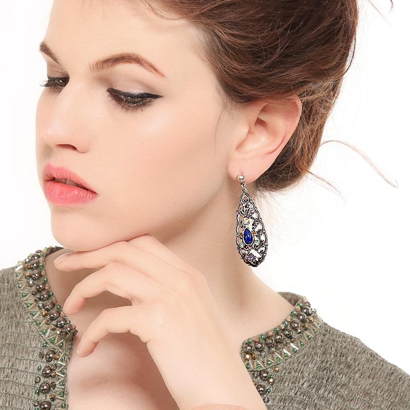 Bohemian Jewelry 2 Set Hollow Teardrop Pattern Big Chandelier Earrings Retro Ethereal Noble Foreign Style Fashion Jewelry