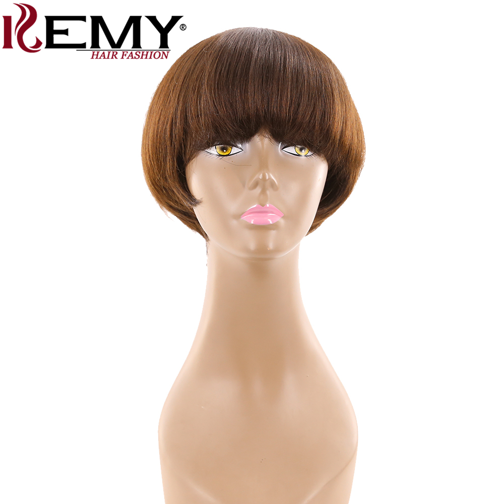 Medium Brown 4# Short Human Hair Wigs With Bangs KEMY HAIR Brazilian Straight Bob Wigs For Black Women Non-Remy Fashion Hair