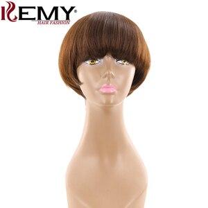 Image 1 - Medium Brown 4# Short Human Hair Wigs With Bangs KEMY HAIR Brazilian Straight Bob Wigs For Black Women Non Remy Fashion Hair