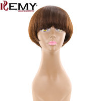 Medium Brown 4# Short Human Hair Wigs With Bangs KEMY HAIR Brazilian Straight Bob Wigs For Black Women Non Remy Fashion Hair