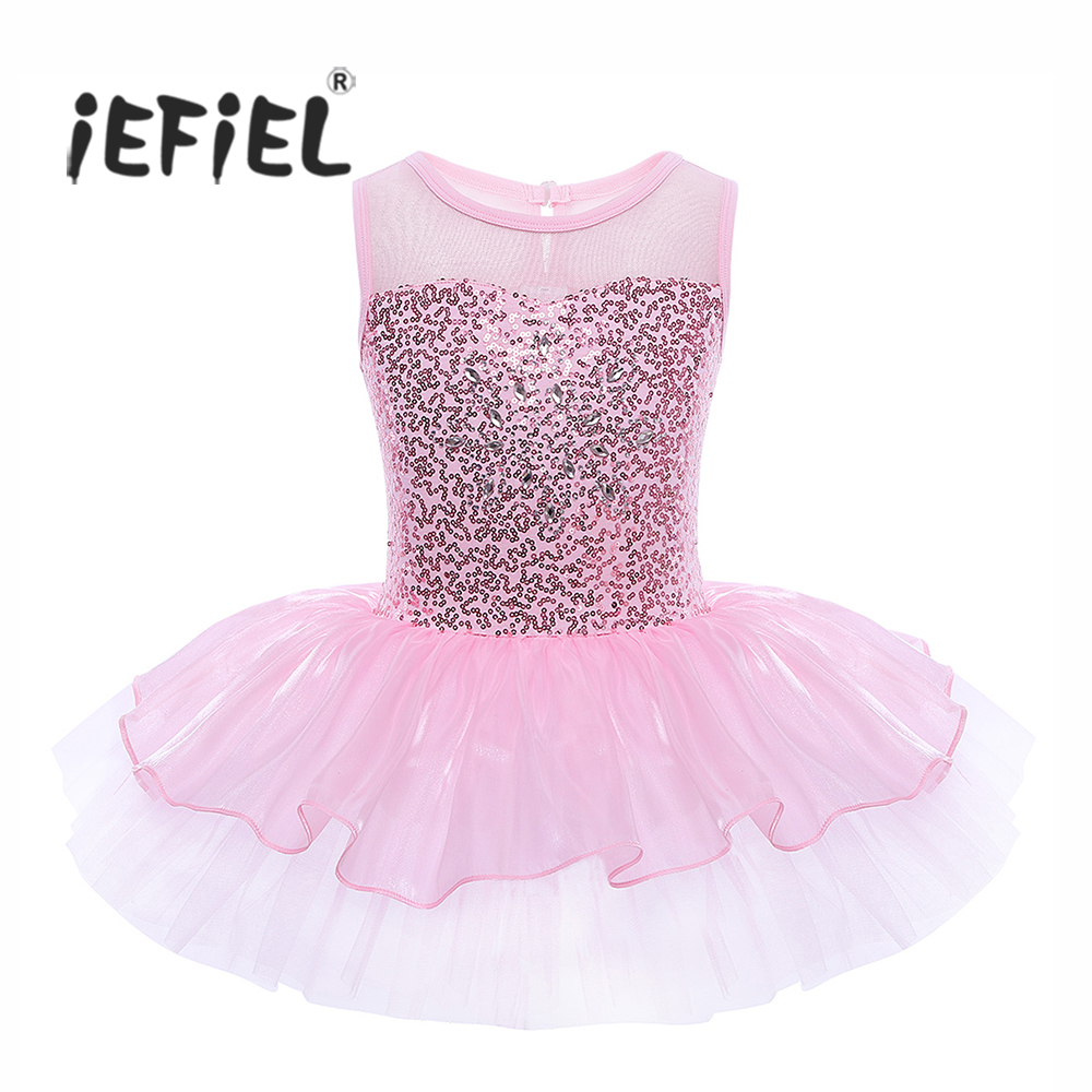 iEFiEL Girls Sleeveless Sequins Formal Ballet Dance Gymnastics Leotard Dress Ballet Dancer Tutu for Kids Children's Ballerina