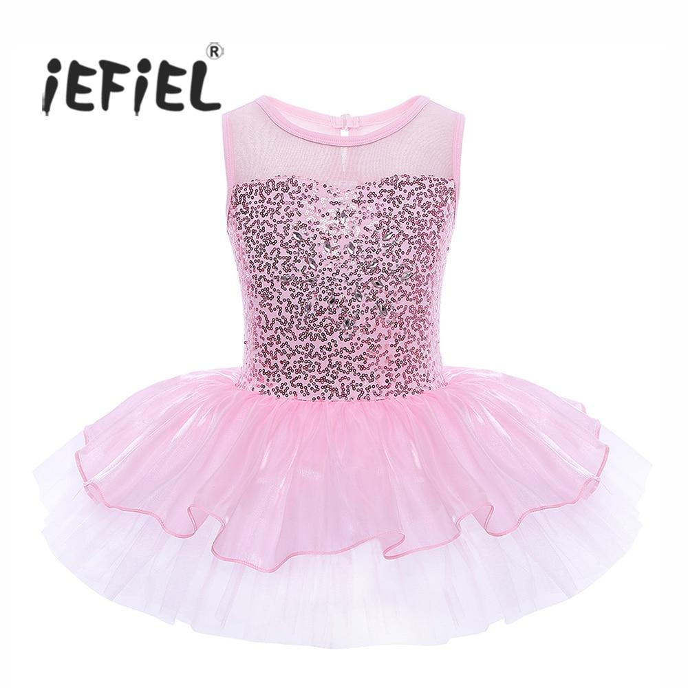 iEFiEL Girls Sleeveless Sequins Formal Ballet Dance Gymnastics Leotard Dress Ballet Dancer Tutu for Kids Children's Ballerina