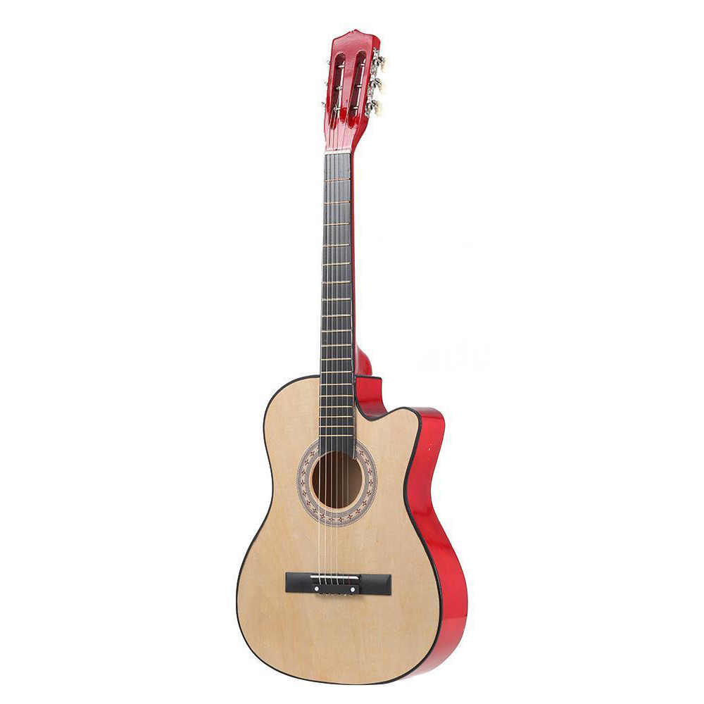 38 6 String Folk Acoustic Guitar for Beginners Music Lovers Students Gift Color:Natrue