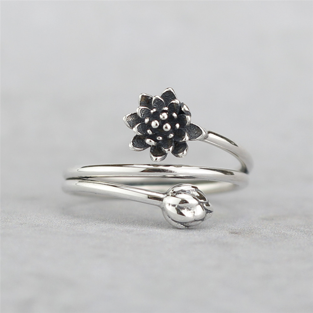 Flyleaf 925 Sterling Silver Vintage Winding Shape Lotus Flower Open Rings For Women Chinese Style Lady