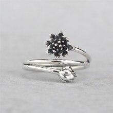 Форзаце 925 серебро Винтаж обмотки Форма цветок лотоса открытым Кольца для Для женщин Китайский Стиль леди стерлингового серебра— ювелирные изделия