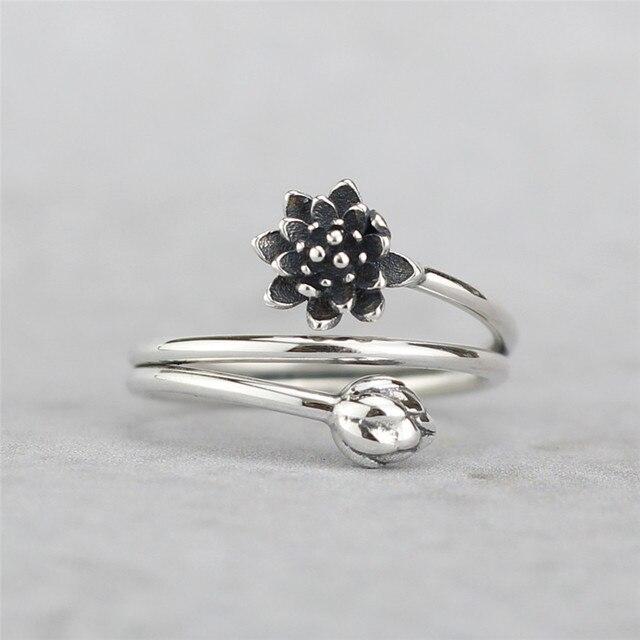 e670a6e595de Flyleaf plata esterlina 925 vintage sinuoso flor de loto forma abierta Anillos  para las mujeres estilo chino señora Sterling-plata- joyería