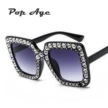 Pop Age New Luxury Square Sunglasses Women Italy Brand Designer Diamond Sun glasses Ladies Vintage Oversized Sun Glasses Female