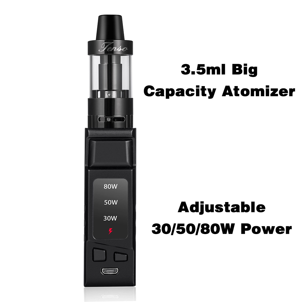 DOTENT SD 80W Electronic Cigarette 510 Thread 3.5ml Atomizer 2000mAh Built-in Battery Metal Body Shisha Pen Vape Starter Kit